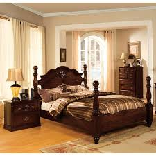 four poster queen bed. Exellent Four Furniture Of America Weston Traditional Style Glossy Dark Pine Four Poster  Bed In Queen T
