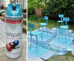 spray painting metal furnitureSpray Painting Metal Kitchen Stools A Happy Turquoise Color