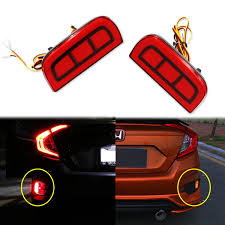 2x Add On Rear Bumper Marker Reflector Red Led Lights For 2016 17