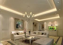 Decorations. Square Pop Ceiling Design With Cove Recessed Lighting And  Luxury Chandelier Decoration Ideas In