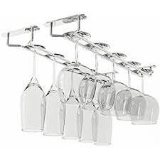 WALLNITURE Stemware Wine Glass Rack Hanger Under Cabinet Storage Chrome  Finish 17 3/4 Inch