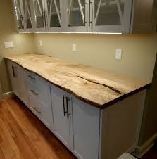 rustic wood live edge maple slab countertop