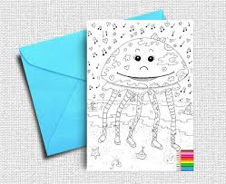 New year's eve or halloween. Coloring Cards Greeting Card Kids Coloring Friendship Card Etsy