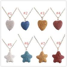 rock love jewelry fashion gold plated starfish heart love lava stone necklace essential oil