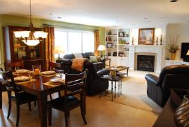 Photo Of Open Plan White Dining Room Family Room Kitchen Living Open Living Room Dining Room Furniture Layout