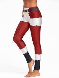 Christmas Belt Print Color Block Leggings In Red L Sammydress Com
