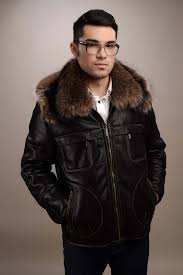 black mens fur coat made out of natural lamb fur in combination with natural rac fur