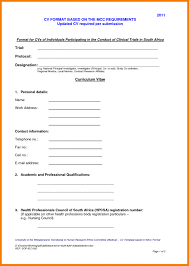 Curriculum Vitae Template Free Download South Africa Resume In Cv