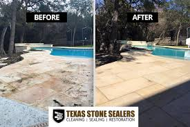 stained concrete patio before and after. MOLD \u0026 MILDEW STAINED LIMESTONE POOL DECK BEFORE AFTER CLEANING SEALING Stained Concrete Patio Before And After C