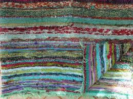 hand loomed rag rug green color theme vintage chindi durrie ts cr 004