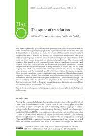 PDF) The space of translation