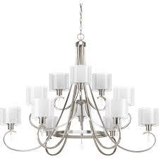 progress lighting mod 28 88 in 5 light brushed nickel clear glass globe chandelier