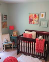 Molly\u0027s Blue and Coral Nursery | Coral nursery, Dark furniture and ...