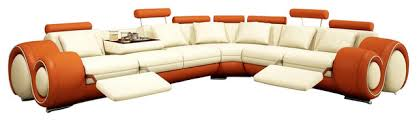 4087 orange u0026 cream bonded leather sectional sofa with builtin footrests orange sectional sofa e11