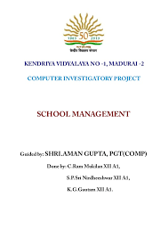 front page for computer project school management c