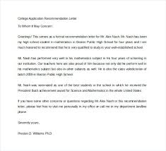 Letter Of Recommendation Tenant Free Letter Of Recommendation College Application Recommendation