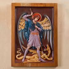 st michael and dragon religious wall art cedar wood panel saint michael archangel