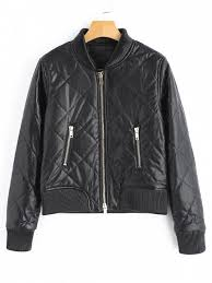 zip up pu leather jacket with pockets black s