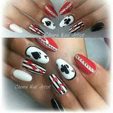 Bianco rosso nero carte strass | unghie monocolore e nail art ...