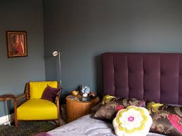Green And Purple Room Blue Bedroom Dulux Steel Symphony 1 Paint Purple Tufted Ava Bed