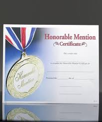 Honorable Mention Certificate Photo Image Certificate Of Honorable Mention
