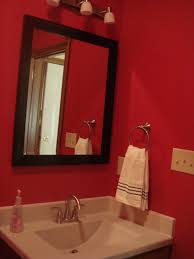 Red Bathroom Decor Fabulous Black Square Wall Mirror Frame Hang On Red Wall Painted