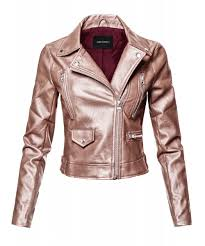 women s casual zipper closure notched collar moto faux leather jacket