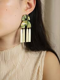 Cecilie Earrings in Olive Mother of Pearl — Wolf & Moon
