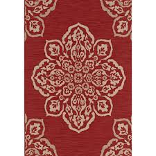 hampton bay medallion red  ft x  ft indooroutdoor area rug