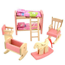 wooden barbie dollhouse furniture. Decoration: Dollhouse Furniture Sets Barbie Wooden Doll Bunk Bed Set Miniature For Kids Child Play S