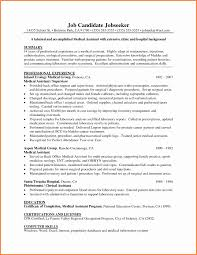 Template Resume Examples Templates Easy Format Medical Assistant