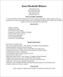 Resume Pediatric Nurse Pediatric Medical Assistant Resume Template Best Design