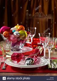 Christmas Table Setting Christmas Table Setting Formal Festive Editorial Food Stock Photo
