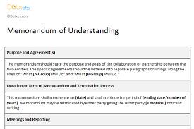 Memorandum Sample Memorandum Of Understanding Sample Template Dotxes
