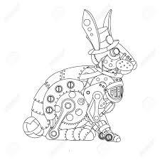 Conejo Del Estilo Steampunk Animales Mec Nica Libro De Colorante