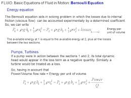 basic equations of fluid in motion bernoulli equation