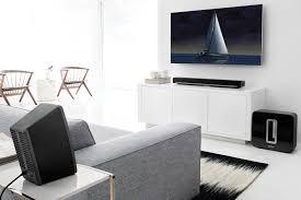 wireless speaker system in living room