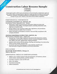 20 Construction Laborer Resume