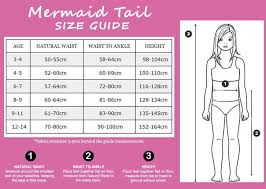 Size Chart Mermaid Tails By Planet Mermaid