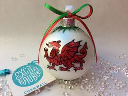 Ornament  Welsh Dragon personalised bauble. Hand painted on glass.  www.excitabauble.co.