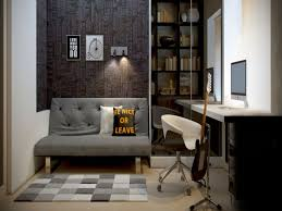 unique office decor. Inspiring Mens Home Office Decor Ideas With Gray Tufted Back Sofas And Swivel Unique Chairs Simple Laptop Desk In Small