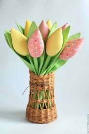 Pink And Green Home Decor Buy Tulips In The Tilda Style Yellow Pink Green Easter