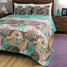 3 Piece Beautiful Vibrant Pink Aqua Orange White Full Queen Quilt ... & 3 Piece Beautiful Vibrant Pink Aqua Orange White Full Queen Quilt Set,  Paisley Bohemian Floral Themed Reversible Bedding Boho Blue Green Purple  Red Colorful ... Adamdwight.com