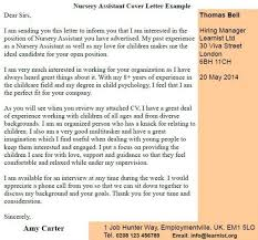 Nursery Assistant Cover Letter Example Learnist Org