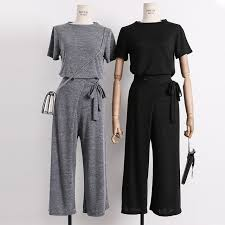Shirts With Pants Short Fashion Women Cotton Knitted Shirt Pants 3pcs Sets