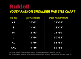 Riddell Helmet Fitting Chart Riddell Youth Phenom Size Chart Png