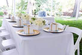 dining table from a blue gold baby shower via kara s party ideas karaspartyideas