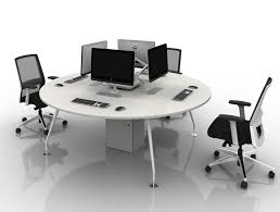 arthur 4 person round desking system with computers and steel legs