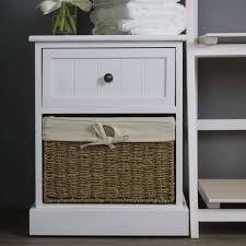 narrow white wooden 1 drawer 1 basket bedside table