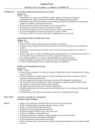 Operations Senior Manager Resume Samples Velvet Jobs